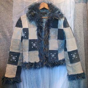 STATIC Y2K Fur Cuff Patchwork Leather Jacket